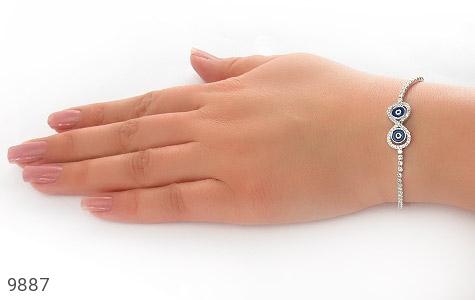 دستبند نقره چشم زخم آسانسوری زنانه - تصویر 6
