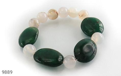 دستبند جید و عقیق درشت و خوش رنگ زنانه - عکس 1