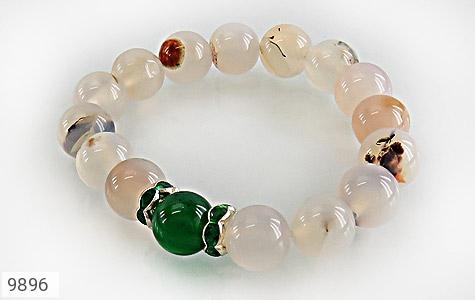 دستبند عقیق درشت طرح گلناز زنانه - عکس 1