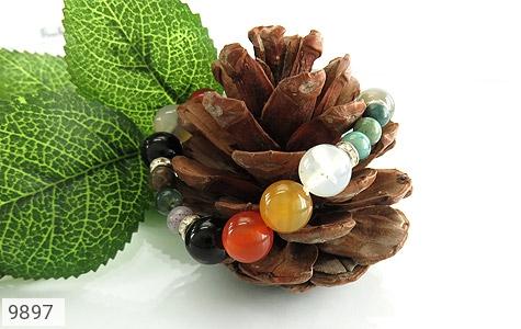 دستبند جاسپر و عقیق خوش رنگ زنانه - عکس 3