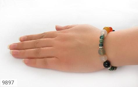 دستبند جاسپر و عقیق خوش رنگ زنانه - عکس 5