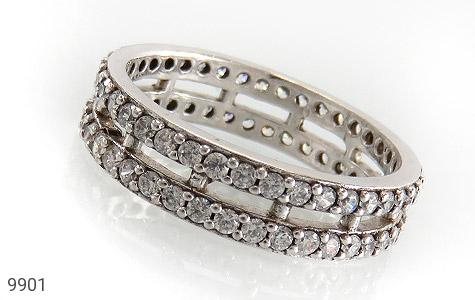 حلقه ازدواج نقره دو حلقه پرنگین - عکس 1