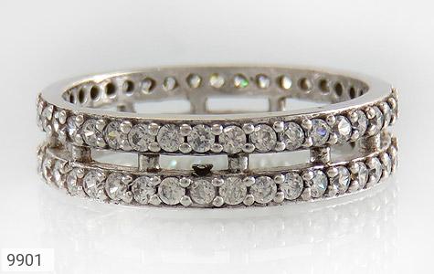 حلقه ازدواج نقره دو حلقه پرنگین - تصویر 2