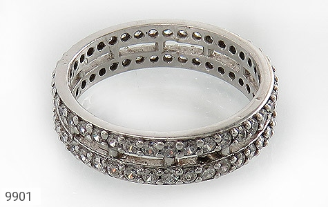 حلقه ازدواج نقره دو حلقه پرنگین - عکس 3