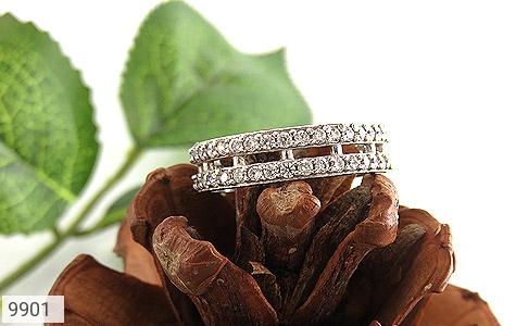 حلقه ازدواج نقره دو حلقه پرنگین - تصویر 4