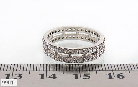 حلقه ازدواج نقره دو حلقه پرنگین - عکس 5