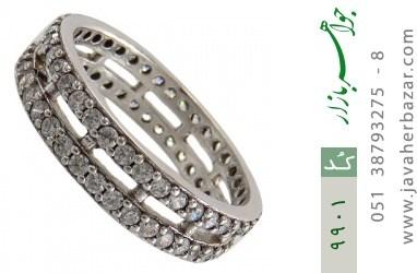 حلقه ازدواج نقره دو حلقه پرنگین - کد 9901