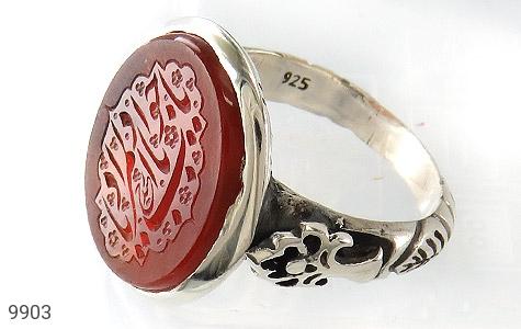 انگشتر عقیق یمن حکاکی یا جواد یا باب المراد استاد حیدر رکاب دست ساز - عکس 1