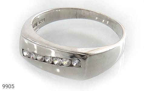 حلقه ازدواج نقره آب رودیوم سفید - عکس 1