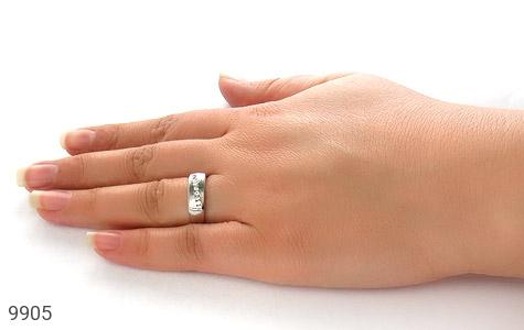 حلقه ازدواج نقره آب رودیوم سفید - عکس 7