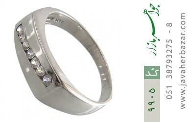حلقه ازدواج نقره آب رودیوم سفید - کد 9905