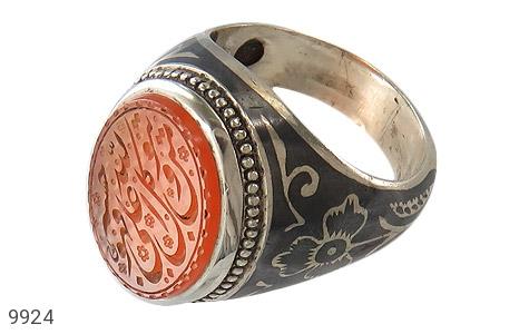 انگشتر عقیق یمن حکاکی و من یتوکل علی الله فهو حسبه استاد احمد رکاب دست ساز - عکس 1