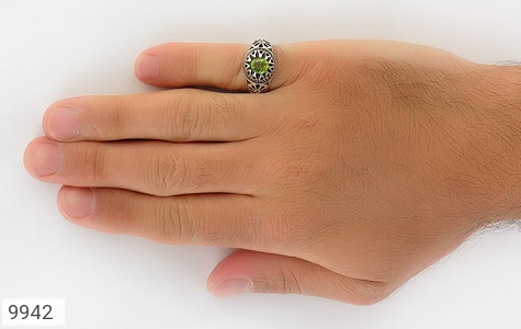 انگشتر زبرجد طرح اشرفی مردانه - عکس 7