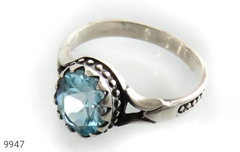 انگشتر توپاز آبی طرح اسپرت - عکس 1