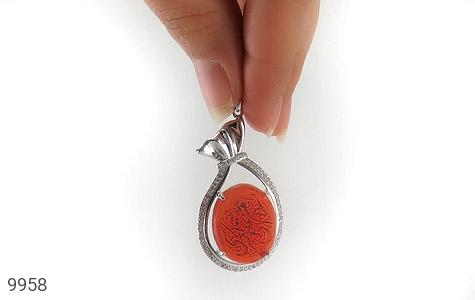 مدال عقیق حکاکی شرف الشمس السلام علی صدیقة الکبری - تصویر 6