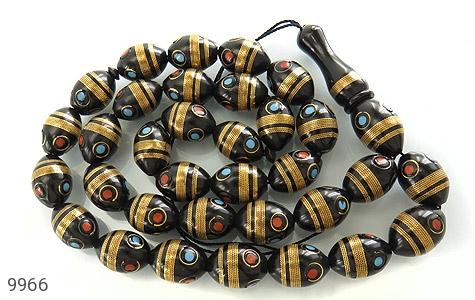 تسبیح کوک (کشکول) 33 دانه درشت مرصع به مس - تصویر 6