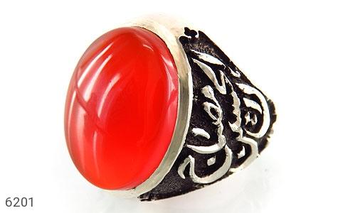 انگشتر عقیق یمن سرخ آبدار درشت قلم زنی سه بعدی سفینه النجاه مردانه کد 6201
