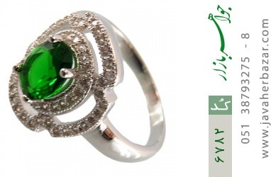 انگشتر نقره نگین سبز خوش رنگ زنانه