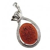 مدال عقیق درشت حکاکی السلام علی صدیقة الکبری زنانه کد 9958