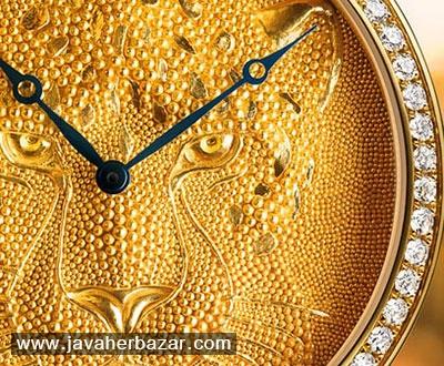 ساعت طلایی برند کارتیه، با طرح یوزپلنگ