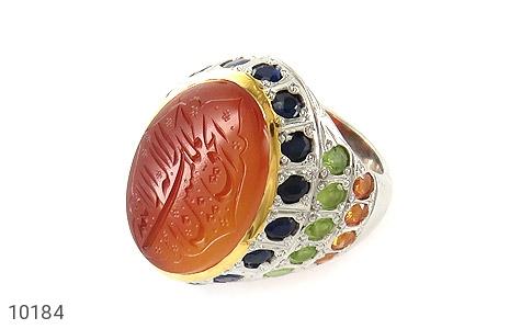 انگشتر نقره عقیق یمن یاقوت آفریقایی زبرجد سیترین درشت حکاکی فاخر مردانه دست ساز - 10184