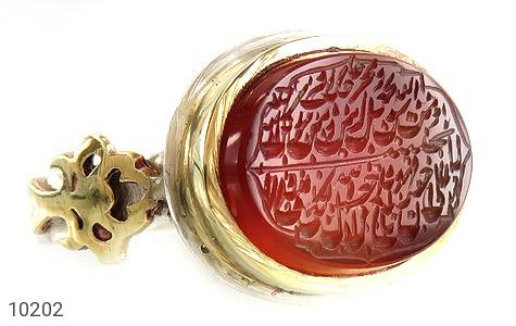 انگشتر نقره عقیق یمن ومن یتق الله خوش رنگ مردانه دست ساز - 10202