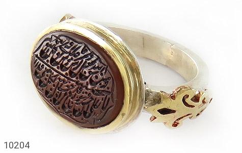 انگشتر نقره عقیق یمن مرغوب ومن یتق الله مردانه دست ساز - 10204