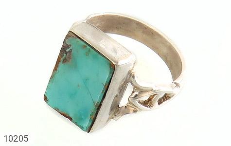 انگشتر نقره فیروزه نیشابوری درشت و چهارگوش دست ساز - 10205