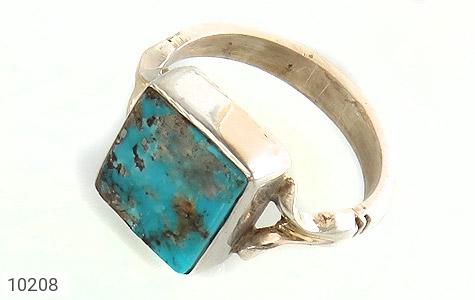 انگشتر نقره فیروزه نیشابوری خوش رنگ طرح چهارگوش دست ساز - 10208