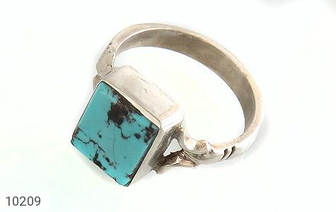 انگشتر نقره فیروزه نیشابوری چهارگوش و خوش رنگ دست ساز - 10209