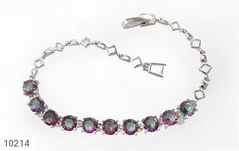دستبند نقره توپاز هفت رنگ طرح نگین زنانه - 10214