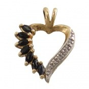 مدال الماس و یاقوت کبود طرح قلب زنانه
