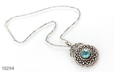 مدال نقره توپاز آفریقایی یی دست ساز بی نظیر طرح شمسه دست ساز - 10294