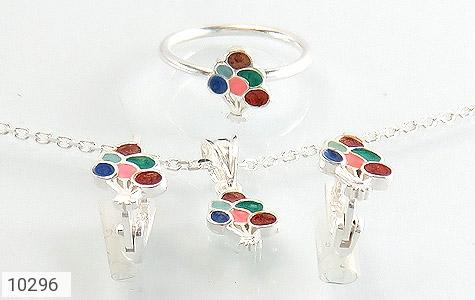 عکس سرویس نقره همراه زنجیر طرح رنگارنگ بچه گانه