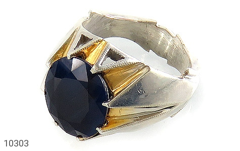 انگشتر نقره یاقوت آفریقایی کبود یی مرغوب و سلطنتی مردانه دست ساز - 10303