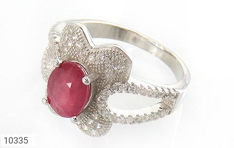 انگشتر نقره یاقوت سرخ طرح گل زنانه - 10335