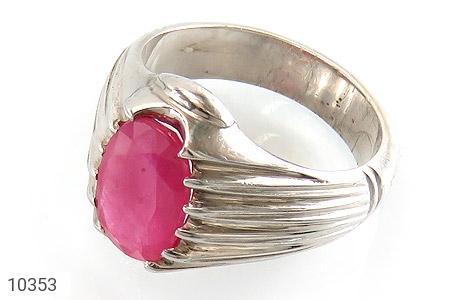 انگشتر نقره یاقوت آفریقایی سرخ یی خوش رنگ مردانه دست ساز - 10353