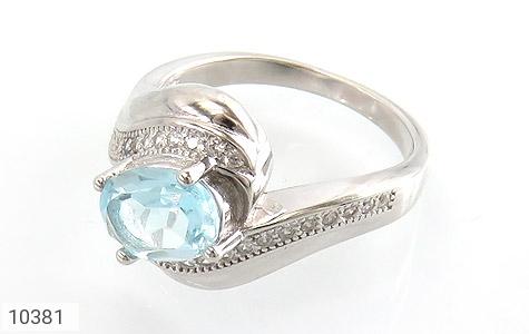 انگشتر نقره توپاز آبی درخشان زنانه - 10381
