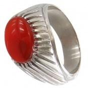 انگشتر نقره عقیق سرخ یمن درشت خوش رنگ مردانه