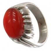 انگشتر نقره عقیق یمن سرخ خوش رنگ درشت مردانه