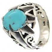 انگشتر نقره فیروزه نیشابوری زیبا و خوش طبع مردانه