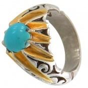 انگشتر نقره فیروزه نیشابوری سلطنتی و ارزشمند مردانه