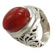 انگشتر نقره عقیق قرمز درشت یمن خوش رنگ مردانه