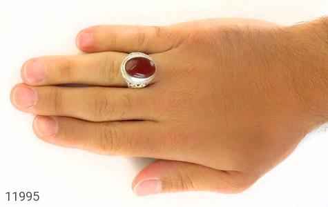 عکس انگشتر عقیق یمن خوش رنگ درشت مردانه - شماره 7