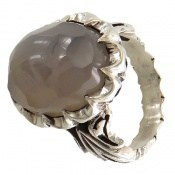 انگشتر عقیق یمنی کبود درشت تراش الماسه مردانه