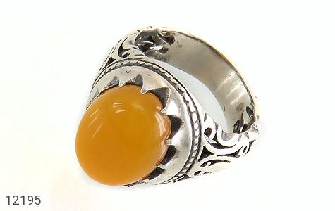 انگشتر نقره عقیق زرد شرف الشمس رکاب شبکه مردانه - 12195