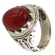 انگشتر نقره عقیق قرمز رکاب شبکه و جذاب مردانه
