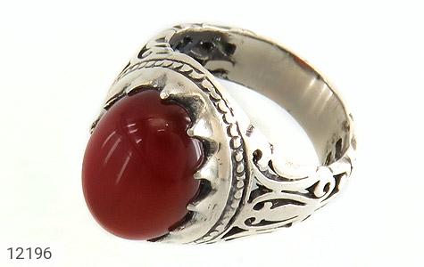 انگشتر نقره عقیق قرمز رکاب شبکه و جذاب مردانه - 12196