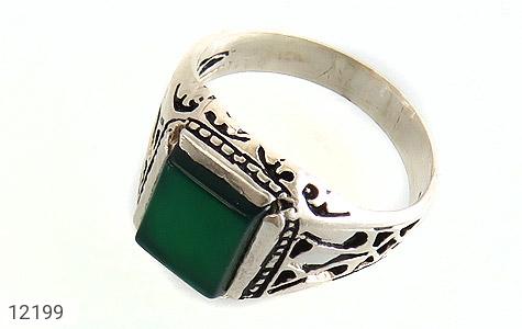 انگشتر نقره عقیق سبز چهارگوش رکاب شبکه مردانه - 12199