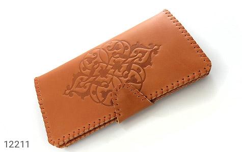 کیف چرم طبیعی طرح دار دکمه ای زنانه دست ساز - 12211